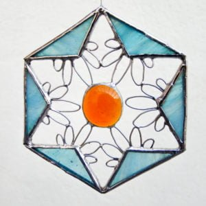 Hanging stained glass small suncatcher with glass gem