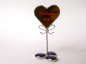 Standing stained glass heart with personalised text.