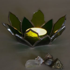 Green botanical Tiffany stained glass candle holder.