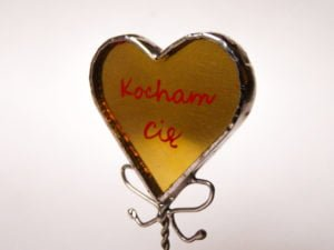 Small stained glass heart with custom text – red and gold.