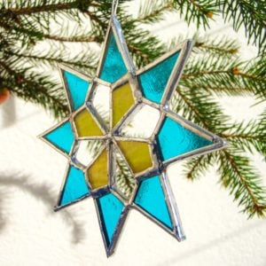 Stained glass star in two colours Christmas decoration.