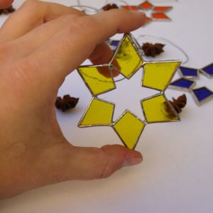 Small shiny six-pointed glass star