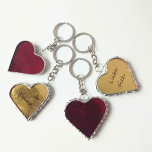 Red gilded heart stained glass key chain.