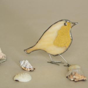 stojący mały witrażowy pozłocony ptaszek