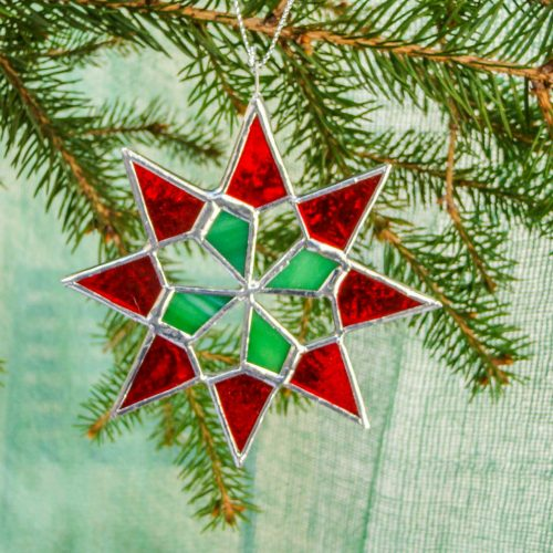 Art glass red and green star christmas decoration.
