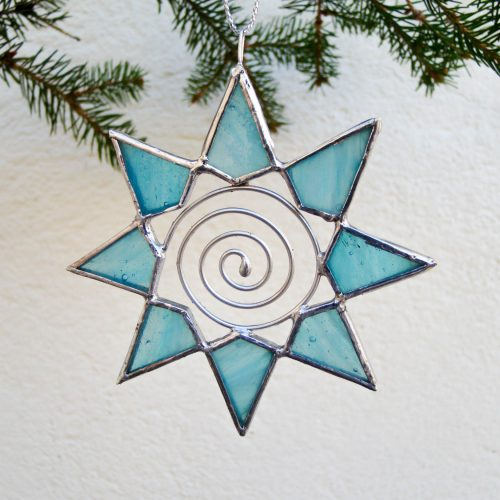 Stained glass small star with spiral ornament